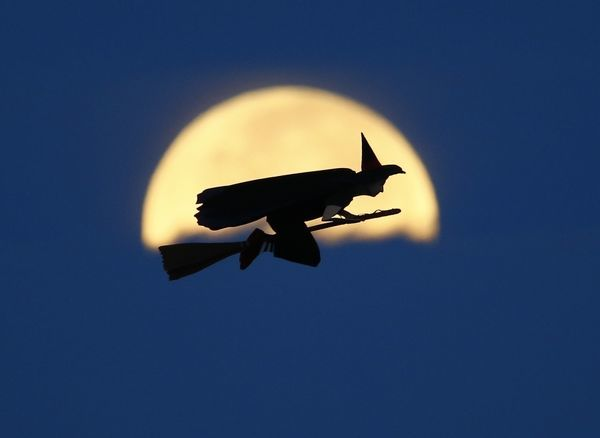 A radio-controlled flying witch makes a test flight past a moon setting into clouds along the pacific ocean in Carlsbad, California in this October 8, 2014 file photo