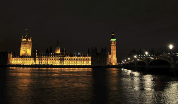The Houses of Parliament are pictured before their lights extinguished during Earth