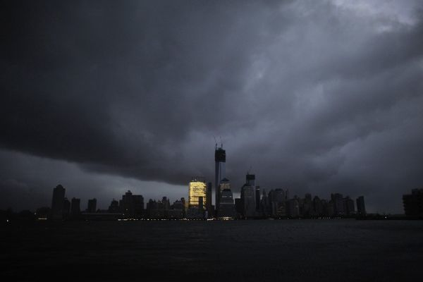 New York Skyline: Partial Blackout after Hurricane Sandy