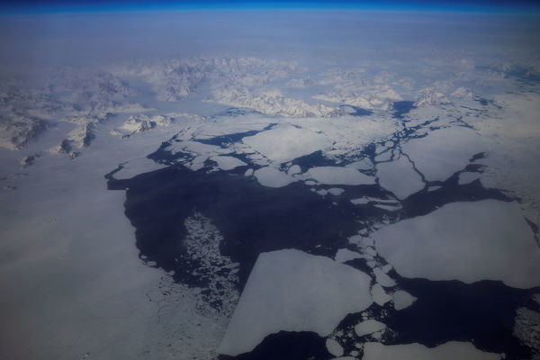 Sea ice is seen breaking up on the southern coast of Greenland