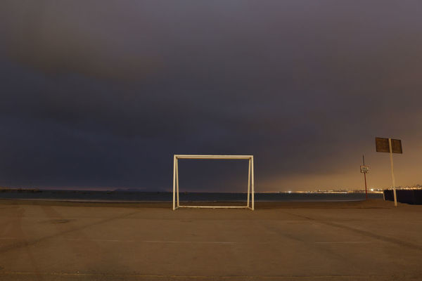 A soccer goalpost stands at Pescadores beach in Chorrillos, Lima June 2, 2014